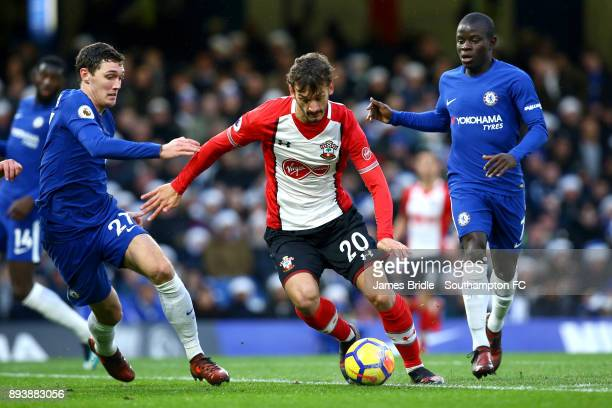 Manolo Gabbiadini of Southampton takes on Andreas Christensen and NÕGolo Kante during the Premier League match between Chelsea and Southampton FC at...