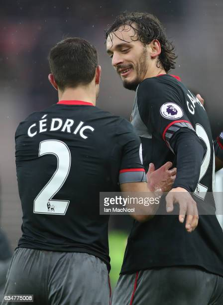 Manolo Gabbiadini of Southhampton celebrates his first goal during the Premier League match between Sunderland and Southampton at Stadium of Light on...