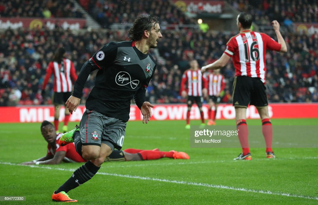 Manolo Gabbiadini of Southhampton celebrates his first goal of the game during the Premier League match between Sunderland and Southampton at Stadium of Light on February 11, 2017 in Sunderland, England.