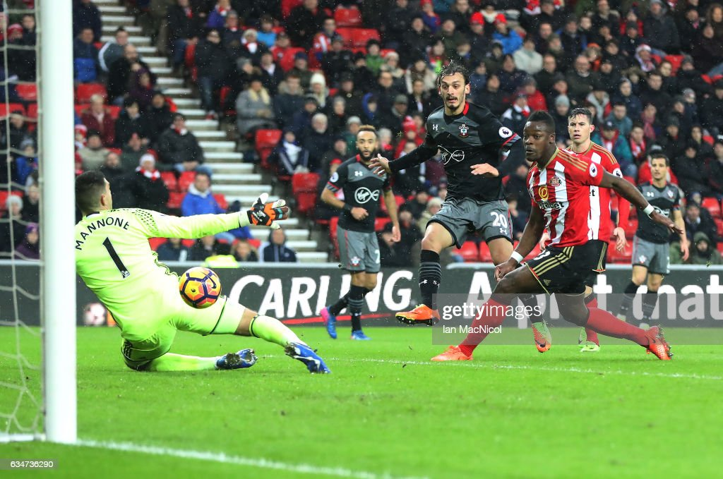 Manolo Gabbiadini of Southhampton scores his second goal of the game during the Premier League match between Sunderland and Southampton at Stadium of Light on February 11, 2017 in Sunderland, England.