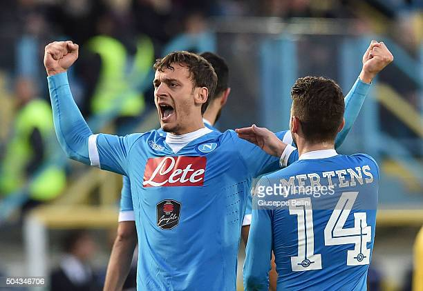 Manolo Gabbiadini of SSC Napoli celebrates after scoring the goal 05 during the Serie A match between Frosinone Calcio and SSC Napoli at Stadio...