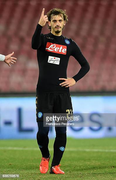 Manolo Gabbiadini of SSC Napoli in action during the TIM Cup match between SSC Napoli and AC Spezia at Stadio San Paolo on January 10 2017 in Naples...