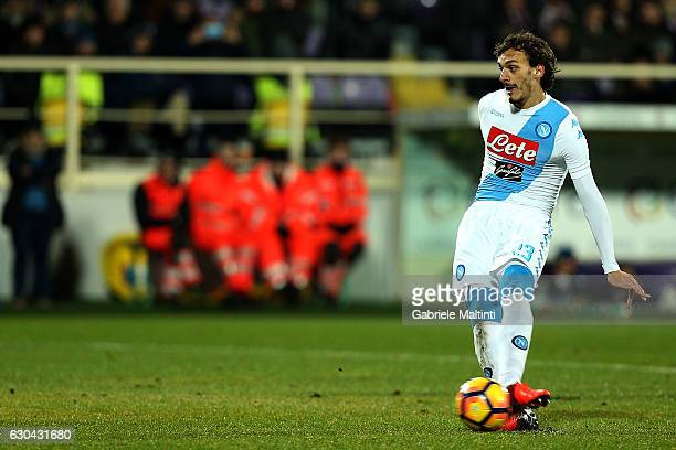 Manolo Gabbiadini of SSC Napoli scores a goal during the Serie A match between ACF Fiorentina and SSC Napoli at Stadio Artemio Franchi on December 22...