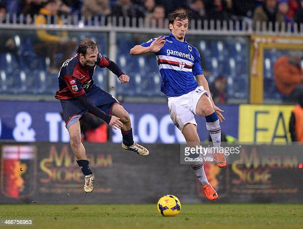 Manolo Gabbiadini of UC Sampdoria and Giovanni Marchese of Genoa CFC compete for the ball during the Serie A match between Genoa CFC and UC Sampdoria...