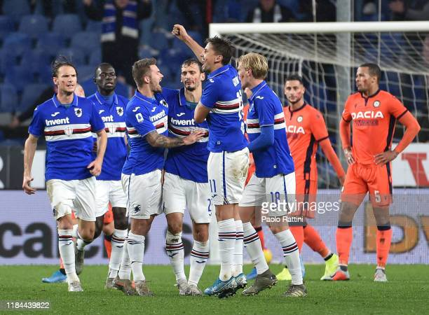 Manolo Gabbiadini of UC Sampdoria celebrate after score goal 11 with his teammates during the Serie A match between UC Sampdoria and Udinese Calcio...