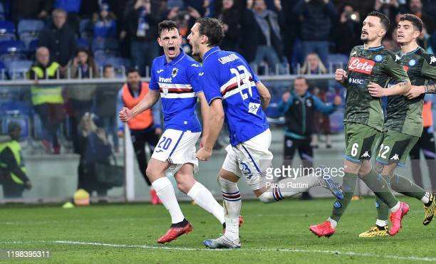 Manolo Gabbiadini of UC Sampdoria celebrates after a penalty 22 during the Serie A match between UC Sampdoria and SSC Napoli at Stadio Luigi Ferraris...