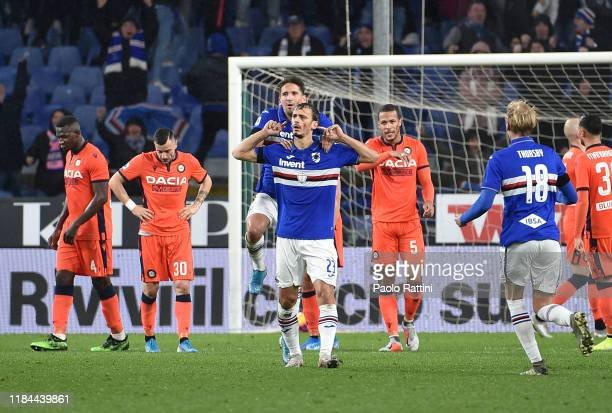 Manolo Gabbiadini of UC Sampdoria celebrates after score goal 11 during the Serie A match between UC Sampdoria and Udinese Calcio at Stadio Luigi...