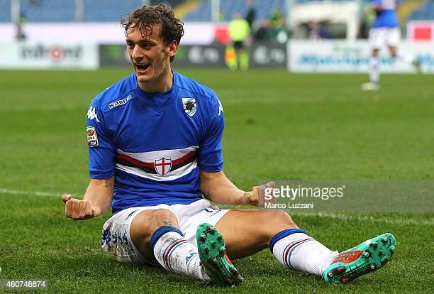 Manolo Gabbiadini of UC Sampdoria celebrates his goal during the Serie A match betweeen UC Sampdoria and Udinese Calcio at Stadio Luigi Ferraris on...