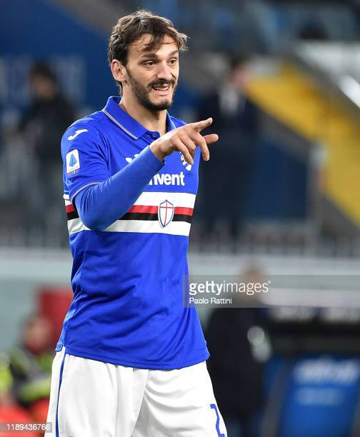 Manolo Gabbiadini of UC Sampdoria gestures during the Serie A match between UC Sampdoria and Juventus at Stadio Luigi Ferraris on December 18 2019 in...
