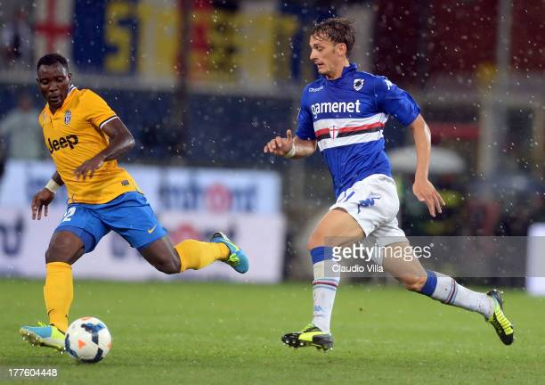 Manolo Gabbiadini of UC Sampdoria in action during the Serie A match between UC Sampdoria and Juventus at Stadio Luigi Ferraris on August 24 2013 in...