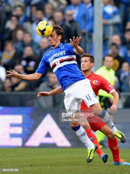 Manolo Gabbiadini of UC Sampdoria in action during the Serie A match between UC Sampdoria and Calcio Catania at Stadio Luigi Ferraris on December 8...