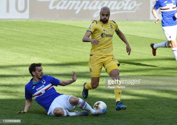 Manolo Gabbiadini of UC Sampdoria opposed to Safyan Amrabat of Hella Verona during the Serie A match between UC Sampdoria and Hellas Verona at Stadio...
