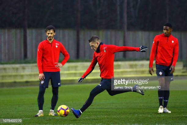 Manolo Gabbiadini Steven Davis and Kayne Ramsay during a Southampton FC training session at Staplewood Training Ground on December 28 2018 in...