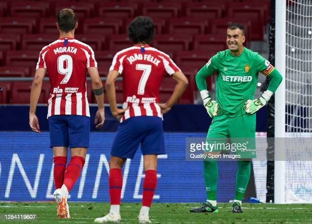 Manolo Reina of RCD Mallorca reacts during the Liga match between Club Atletico de Madrid and RCD Mallorca at Wanda Metropolitano on July 03, 2020 in...