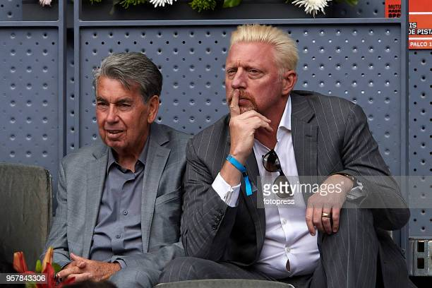 Manolo Santana and Boris Becker attend day eight of the Mutua Madrid Open at La Caja Magica on May 11 2018 in Madrid Spain