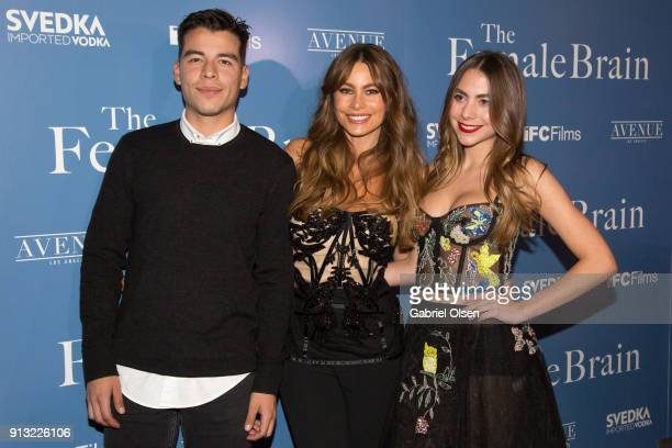 Manolo Vergara Sofia Vergara and Claudia Vergara arrive for the premiere of IFC Films' The Female Brain at ArcLight Hollywood on February 1 2018 in...
