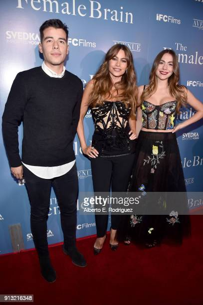 Manolo Vergara Sofia Vergara and Claudia Vergara attend the premiere of IFC Films' 'The Female Brain' at ArcLight Hollywood on February 1 2018 in...
