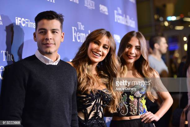 Manolo Vergara Sofia Vergara and Claudia Vergara attend the premiere of IFC Films' 'The Female Brain' at ArcLight Hollywood on February 1 2018 in Los...
