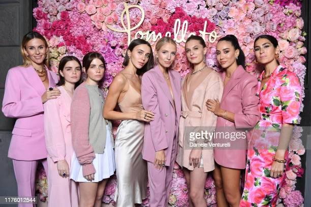 Manon Durst, Reese Blustein, Molly Blustein, Mary Leest, Leonie Hanne, Christie Tyler, Tamara Kalinic and Deborah Reyner attend Pomellato Pink Party...