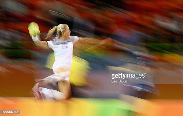 Manon Houette of France in action during the Womens Preliminary Group B match between France and Argentina at Future Arena on August 10, 2016 in Rio...