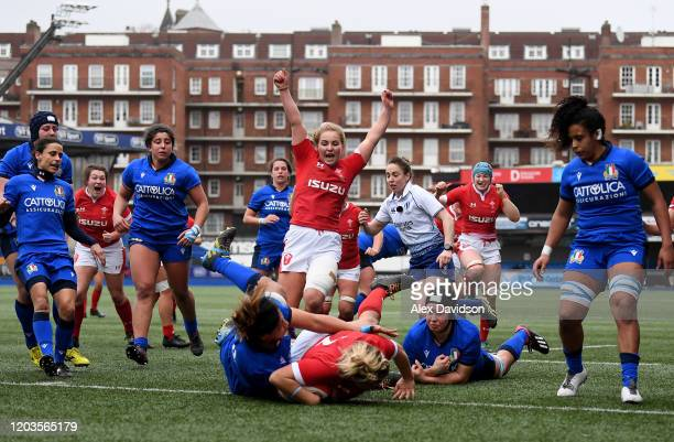 Manon Johnes of Wales celebrates after Kelsey Jones scores her sides second try during the 2020 Women's Six Nations match between Wales and Italy at...