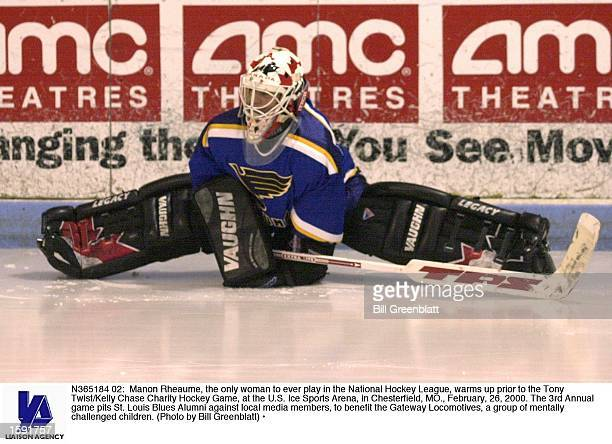 Manon Rheaume the only woman to ever play in the National Hockey League warms up prior to the Tony Twist/Kelly Chase Charity Hockey Game at the US...