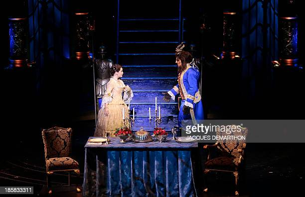 Manon Taris and Yoni Amar respectively play Beauty and Belle during a dress rehearsal of the Beauty and the Beast The Broadway Musical at the Mogador...