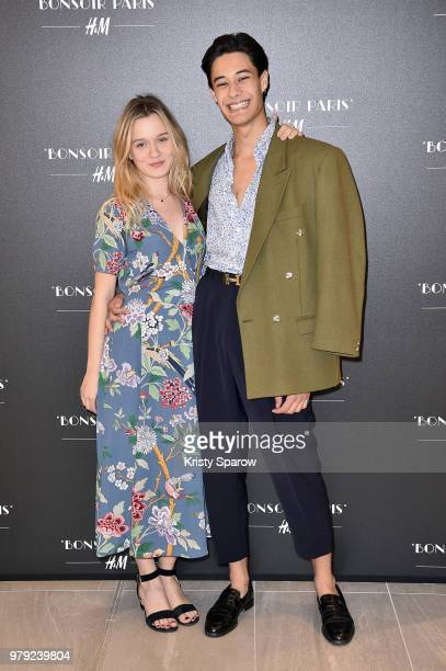 Manon Valentin and Khaled Alouach attend the HM Flagship Opening Party as part of Paris Fashion Week on June 19 2018 in Paris France