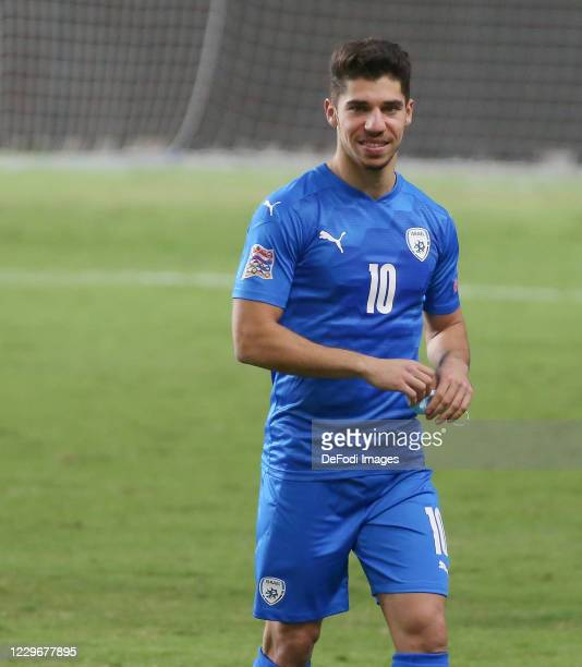 Manor Solomon of Israel celebrates during the UEFA Nations League group stage match between Israel and Scotland at Netanya Stadium on November 18,...