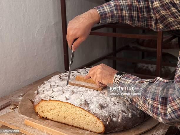 manos de un hombre cortando el pan - un solo hombre stock photos and pictures