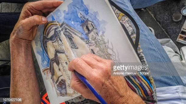 manos y pintura - pintura stock photos and pictures