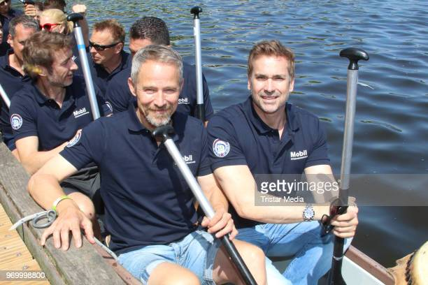 Manou Lubowski and Andreas Brucker attend the '14 Drachenboot Cup' charity event on June 8 2018 in Hamburg Germany