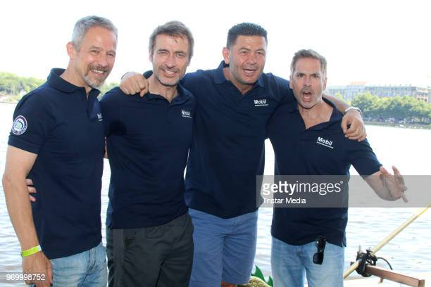 Manou Lubowski Guido Broscheit Luan Krasniqi and Andreas Brucker attend the '14 Drachenboot Cup' charity event on June 8 2018 in Hamburg Germany