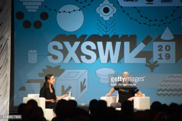 Manoush Zomorodi and Joseph Lubin speak onstage during the Interactive Keynote: Joseph Lubin 2019 SXSW Conference and Festivals at Hilton Austin on...