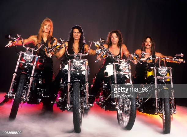 Manowar posing on motorbikes during a studio shoot in Auburn New York on July 161996