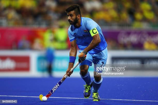 Manpreet Singh of India in action during Men's Semifinal match between India and New Zealand on day nine of the Gold Coast 2018 Commonwealth Games at...