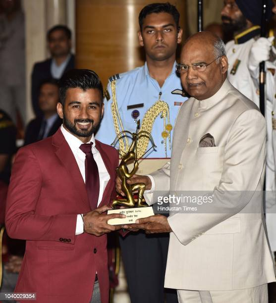 Manpreet Singh receives Arjuna Award 2018 for his achievements in Hockey from President Ramnath Kovind during the National Sports and Adventure Award...