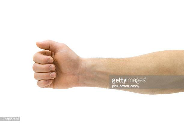 A mans arm on a white background