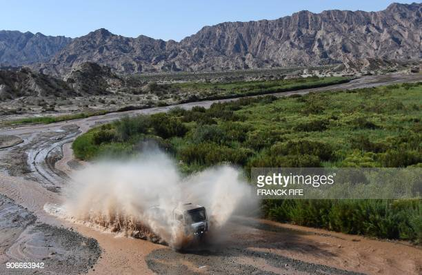 Man's Belgian truck driver Steven Rotsaert and codrivers Charly Gotlib and Jan Van Der Vaet compete during the Stage 12 of the 2018 Dakar Rally...