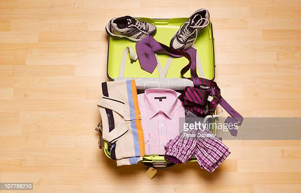 mans business suitcase from above - suitcase stock pictures, royalty-free photos & images