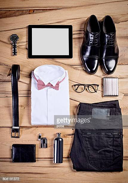 man's casual business outfit - belongings stock photos and pictures