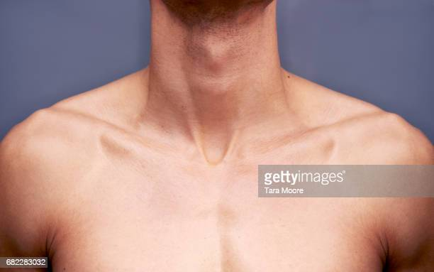 man's chest and neck - human body part stock pictures, royalty-free photos & images