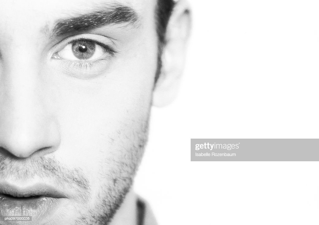 Man's face, close-up : Stockfoto