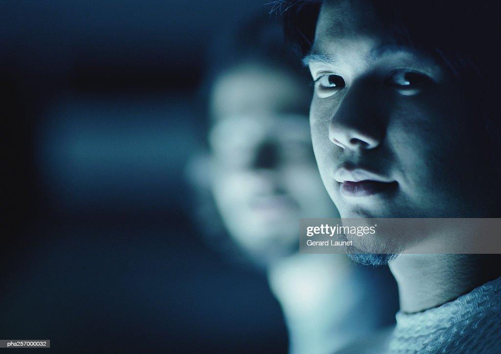 Man's face, close-up : Stockfoto