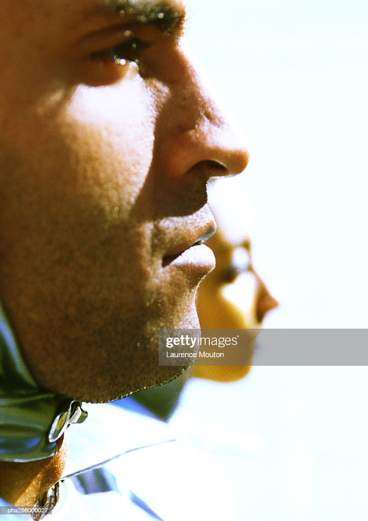 Man's face, side view, close-up : Stockfoto