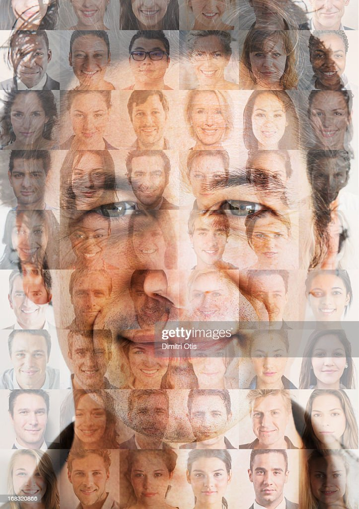 Man's face superimposed over grid of small faces : Stock Photo