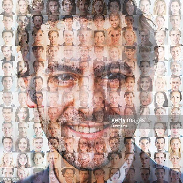 Man's face superimposed over mosaic of faces