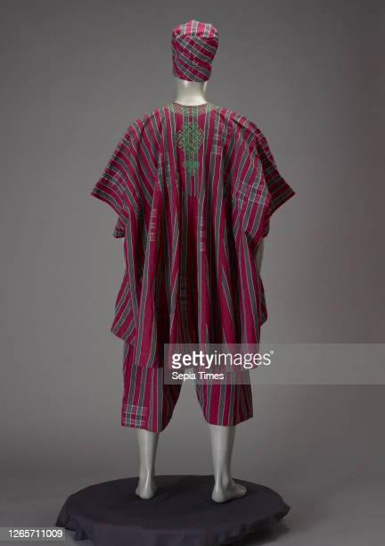 Man's garment , Yoruba, 1980s, cotton, embroidered with cotton, A): top: length 42 in., B) pants: length 33 in. C) hat: height 10-1/2 in., Textile...