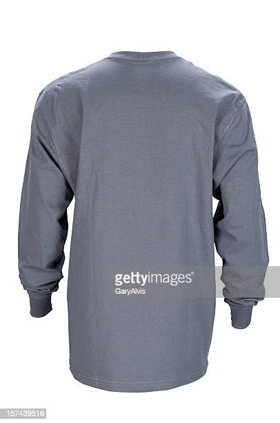 Man's gray, long sleeved t-shirt back-isolated on white w/clipping path