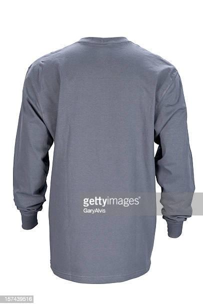 Mann's Grau, langärmlige t-shirt zurück-isoliert auf weiss Mit clipping path